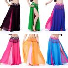 Women Bifurcation Chiffon Long Skirt Belly Dance Dress Hip Tassel Dancewear