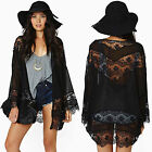 Damen Blumen Kimono Cardigan Locker Strickjacke Mantel Bluse Top Strand Cover Up