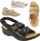 Ladies Women's Flower Wedge Heel Faux leather Comfort Summer Sandals Shoes Size