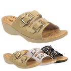 LADIES WOMEN WEDGE HEEL BUCKLE SLIP ON MULE SUMMER SANDALS SHOE SIZE 3 4 5 6 7 8