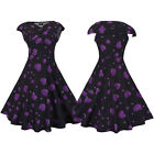 New Women Evening Party Swing 1950s 60s Vintage Print Rockabilly Dress Plus Size