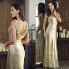 Ever-pretty UK Long Gold Sequin Pageant Evening Dress Celebrity Ball Gown 07110