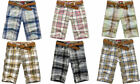 Men's Checked Summer Beach Cargo Shorts Pants Casual Trousers