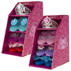 Girls Set of 3 Princess Dress Up Slipper Shoes & Tiara Crown with Blue/Pink Gems