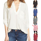US Spring Oversize Casual Chiffon Shirt Long Sleeve Plus Size Blouse Fashion Top