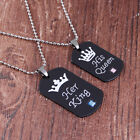 Her King/ His Queen Metal Pendant Necklace Bead Chain Dog Ta