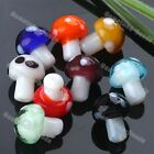 20x Lampwork Glass Mini Mushroom Spacer Loose Beads Charm For Jewelry Making DIY