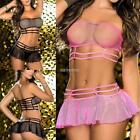 Women Casual Solid Mesh See Through Hollow Two-Piece Sexy Lingerie Set K0E1