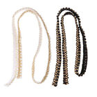 Внешний вид - 1 Yard Braided Beaded Faux Pearls Trimming Lace Ribbon Craft Sewing Supplies