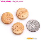 17mm Coin Carved Bone Cabochon Beads for Jewelry Making DIY Wholesale 12 Pcs