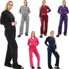 Ladies Womens Velour Velvet Top Bottom Lounge Wear Jogger Hoodie Hood Tracksuit