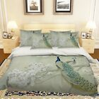 3D Tree Peacocks 2 Bed Pillowcases Quilt Duvet Cover Set Single Queen King Size