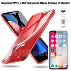 Thin Transparent Clear Gel Cover Tempered Glass Protector For iPhone 6 7 8 X