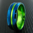 8mm Men's Blue Tungsten Green Striped & Inside Band Ring-Engraving Avail. TW