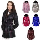 New Ladies Check Womens Hooded Soft Belt Button Fleece Coat Jacket Top