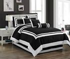 Chezmoi Collection Caprice 7-Piece Black White Square Hotel Style Comforter Set image