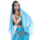 Belly Dance Costume Hand Crochet Head Chain+Head Veil Gold Coins Beads Chiffon
