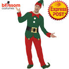 CA128 Mens Elf Costume Santas Helper Christmas Xmas Fancy Dress Up Party Outfit