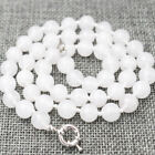 """Long 18"""" 24"""" 36"""" 50"""" 8mm /10mm White Jade Round Gemstone  Necklace Aaa"""