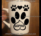 Custom White Coffee Mug Cup Dog Heart Paw Personalized Name Adoption Rescue Pup