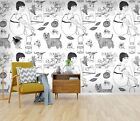 3D Sketch Girl Food 26 WallPaper Murals Wall Decal WallPaper AU Carly