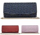 WOMENS DIAMANTE ENCRUSTED BRIDAL PARTY EVENING PROM ENVELOPE CLUTCH BAG