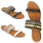LADIES WOMENS FLAT SANDALS DIAMANTE FANCY PARTY BEACH HOLIDAY SUMMER SHOES
