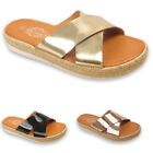 Womens Ladies Espadrille Wedge  Cross Over Shiny Mules Sliders Slip On Sandals