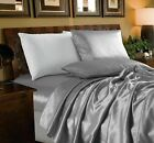 Chezmoi Collection 4-Piece Solid Silver Bridal Satin Sheet Set image