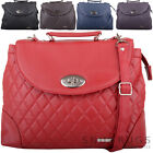 Ladies / Womens Smooth Faux Leather Satchel / Cross Body / Shoulder Bag