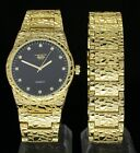 Mens Nugget Design Watch & Bracelet Set+GIFT BOX 14k Gold Plated Hip Hop Fashion image