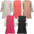 Girls Top Kids Pearl Dress Floral Lace Long Sleeved Crew Neck Summer Party New