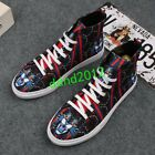High Tops Shoes Men Embroidery Print Lace Up Flat casual Sneaker Boat Shoes Size