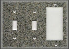 Metal Light Switch Plate Cover Faux Finish Grey Green Granite Image Design