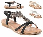 WOMENS LADIES LOW WEDGE HEEL FLATFORM DIAMANTE T-BAR SLINGBACK SANDALS SIZE
