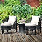 5pcs Patio Garden Rattan Chairs Ottomans Coffee Table Dining Sets Home Furniture