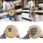 Women Shoulder Bag Straw Rattan Woven Round Messenger Handbag Beach Travel Purse