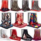 Womens Print Satin-Silk Square Scarf Wrap Lady Shawl Beach Scarves Stole 90 90cm