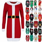 Womens Oversize Baggy Christmas Santa Costume Knitted Ladies Jumper Mini Dress