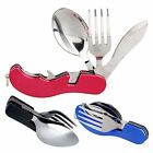 Foldable 3 in 1 Stainless Steel Pocket Spoon Fork Tool Knife Portable Outdoor