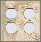 Metal Light Switch Cover Vintage Rose And Cream Shabby Chic Decor Damask
