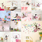 Butterfly Girl Flower Removable Wall Stickers Vinyl Decal Home Room Mural Decor