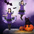 Kids Girls Pirate Cosplay Halloween Party Fancy Dress Up Bat Princess Costume