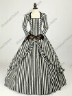 Victorian Steampunk Gone with the Wind Stripe Evening Gown Theater Costume N 321
