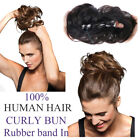 Rubber Band In Curly Virgin Human Hair Buns Ponytail Messy Hair Extensions