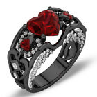 US Red Ruby Black Gold Heart Angel Wings Ring Wedding Band Jewelry Gift Size6-10