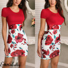 Womens Floral Maxi Dress Short Sleeve Evening Party Summer Beach Short Sundress