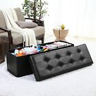 Foldable Tufted Large Storage Ottoman Bench Foot Rest Stool/Seat - 15 x 45 x 15