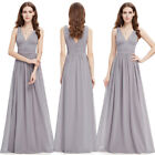 UK Ever-Pretty V Neck Grey Long Evening Ball Gown Party Prom Bridesmaid Dress