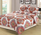 Full/Queen or King Quilt Boho Medallion Pink Orange Yellow Bedding Bedspread Set image